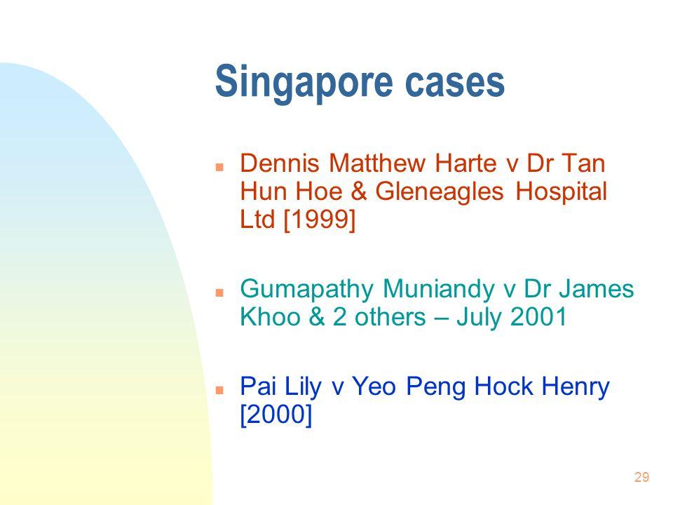 Singapore cases Dennis Matthew Harte v Dr Tan Hun Hoe & Gleneagles Hospital Ltd [1999] Gumapathy Muniandy v Dr James Khoo & 2 others – July 2001.